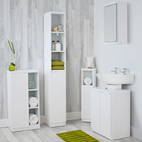 High Gloss Compact Bathroom - Complete Set