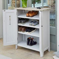Grey Wood Shoe Storage Cabinet - Signature
