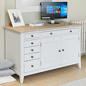 Grey Wood Hidden Home Office - Signature