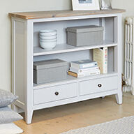 Grey Wood Low Bookcase - Signature