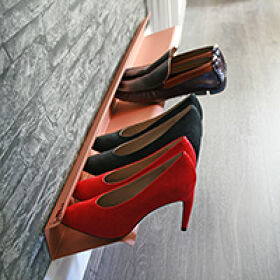Large Wall Mounted Shoe Rack - Copper