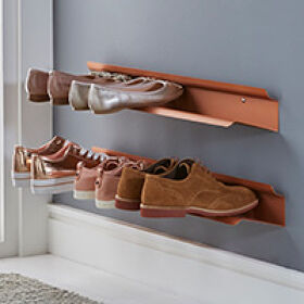 Small Wall Mounted Shoe Rack - Copper