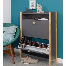 Grey Shoe Storage Cabinet - 2 Drawer - Hannover