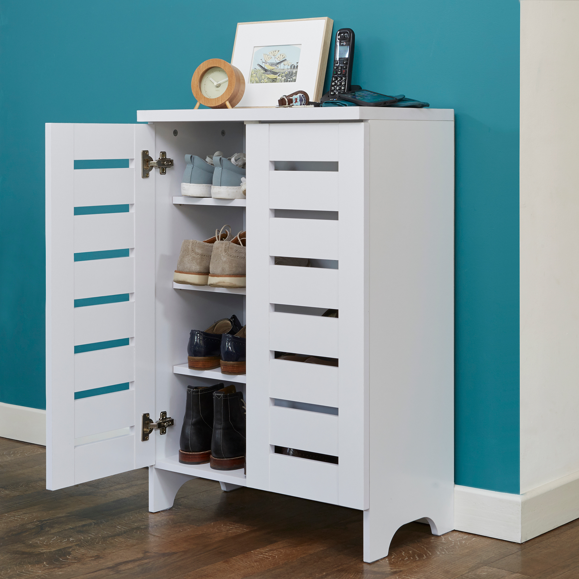 White Slatted Shoe Storage Cabinet | STORE