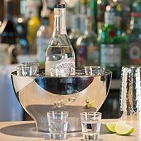 Stainless Steel Spirit Cooler Bowl & Shot Glasses