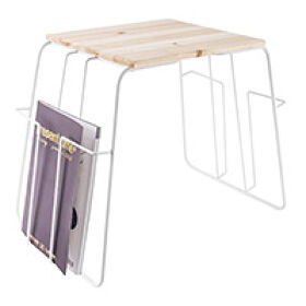 White Wire & Wood Magazine Rack Side Table