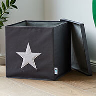 Grey Lidded Storage Cube - Star