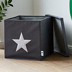 Grey Lidded Storage Cube - Star