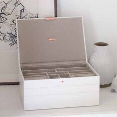Stackers Supersize Jewellery Box - White & Rose Gold