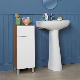 Oak Effect & White Gloss Floor Standing Bathroom Storage Cabinet