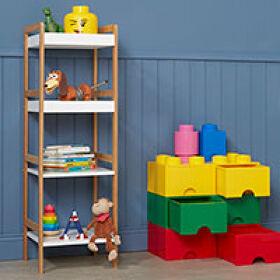 Gloss White & Bamboo Toy Shelving Unit