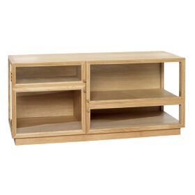 Glass Front Oak Display Cabinet - Low