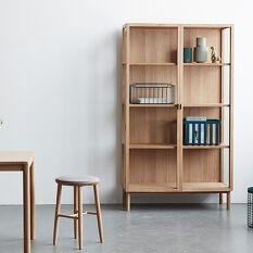 Oak Display Cabinet on Legs - Tall