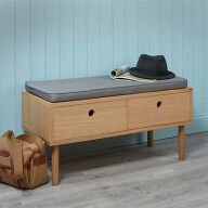 Oak Storage Bench with Grey Cushion