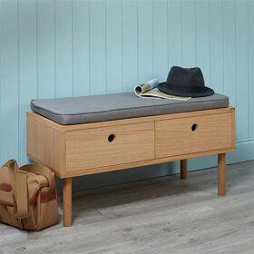 Oak Storage Bench with Grey Cushion