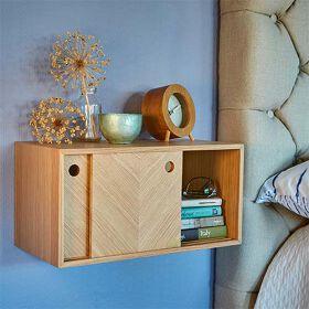 Oak Herringbone Floating Storage Shelf