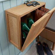 Herringbone Floating Shoe Cabinet - Oak