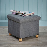 Ottoman Footstool with Storage - Grey
