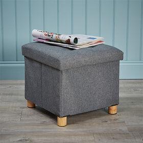 Ottoman Footstool with Storage - Grey