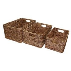 Set of 3 Deep Water Hyacinth Baskets