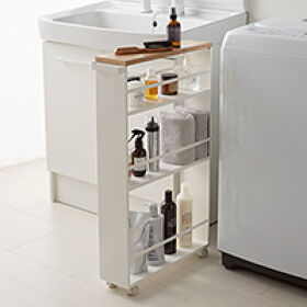 Slimline Bathroom Trolley - Wood Topped