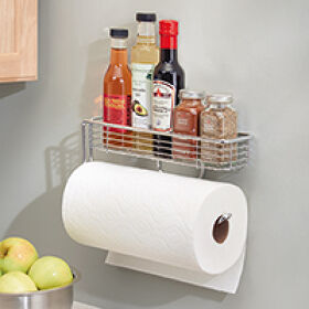 Wall Mount Kitchen Roll Holder With Shelf