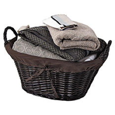 Lined Brown Willow Basket With Handles