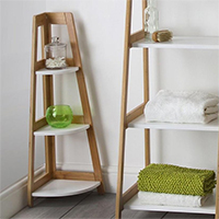 Natural & White 3 Tier Corner Shelf Unit - Denver