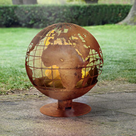 World Map Globe Fire Pit