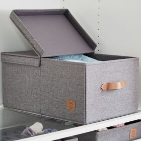Grey Storage Box with Hinged Lid