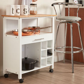 1 Drawer Kitchen Trolley - White & Bamboo