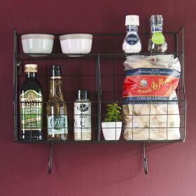 Wall Rack Storage Basket with Hooks