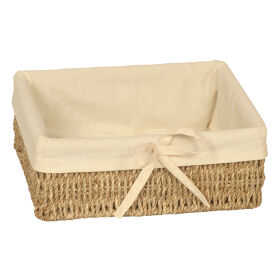 Lined Seagrass Pantry Basket - Rectangular