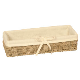 Lined Seagrass Pantry Basket - Long
