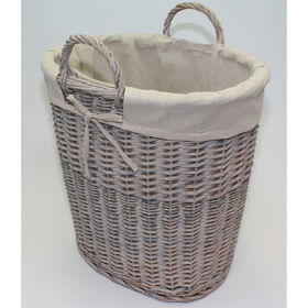 Willow Log Basket with Lining - Grey