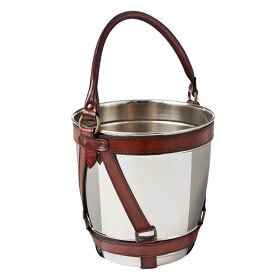 Champagne Bucket - Leather & Nickel
