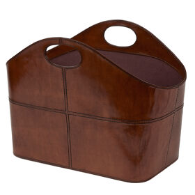Leather Storage Basket - Curved